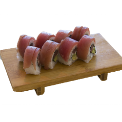 8 atún roll (relleno de atún y mango con cobertura de atún)
